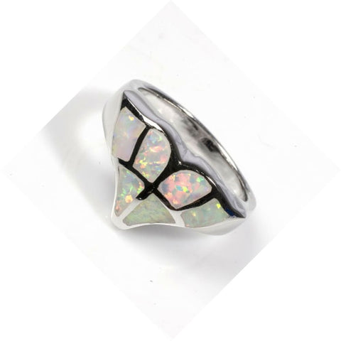 Image of Rings $50.17 White Lab Opal Whale Tail Mosaic Pattern Ring opal white