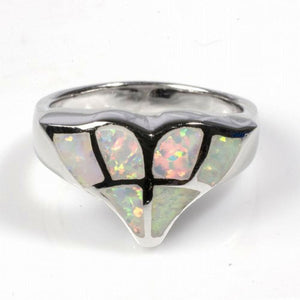 White Lab Opal Whale Tail Mosaic Pattern Ring