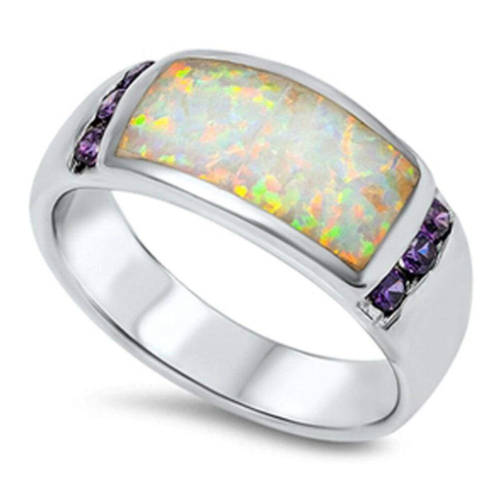 Rings $86.52 White Opal with 6 Round Amethyst Cubic Zirconia Stones Set in Band 50-100, amethyst, badge-toprated, cubic-zirconia, opal