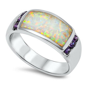 White Opal with 6 Round Amethyst Cubic Zirconia Stones Set in Band