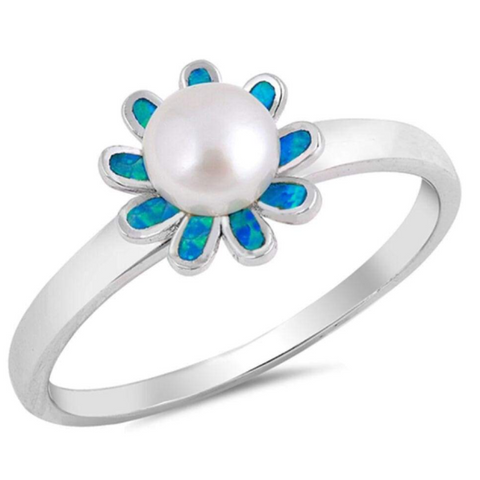 Image of Rings $49.66 White Round Pearl in a Blue Lab Opal Flower Set in a Sterling Silver Band Size 4-10 25-50, badge-toprated, blue, flower, opal