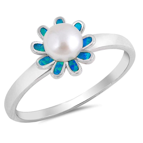 Image of Rings $29.38 White Round Pearl in a Blue Lab Opal Flower Set in a Sterling Silver Band Size 4-10 25-50 blue flower opal pearl