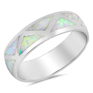 Rings $65.49 White Simulated Opal in Triangle Grid Pattern Wedding Ring 50-100, badge-toprated, opal, rings, size-10