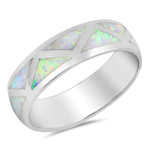 White Simulated Opal in Triangle Grid Pattern Wedding Ring