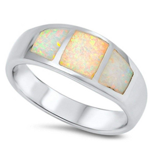 Rings $61.09 Wide Band White Opal Inlay Thumb Ring Sterling Silver 50-100, badge-toprated, opal, rings, size-5