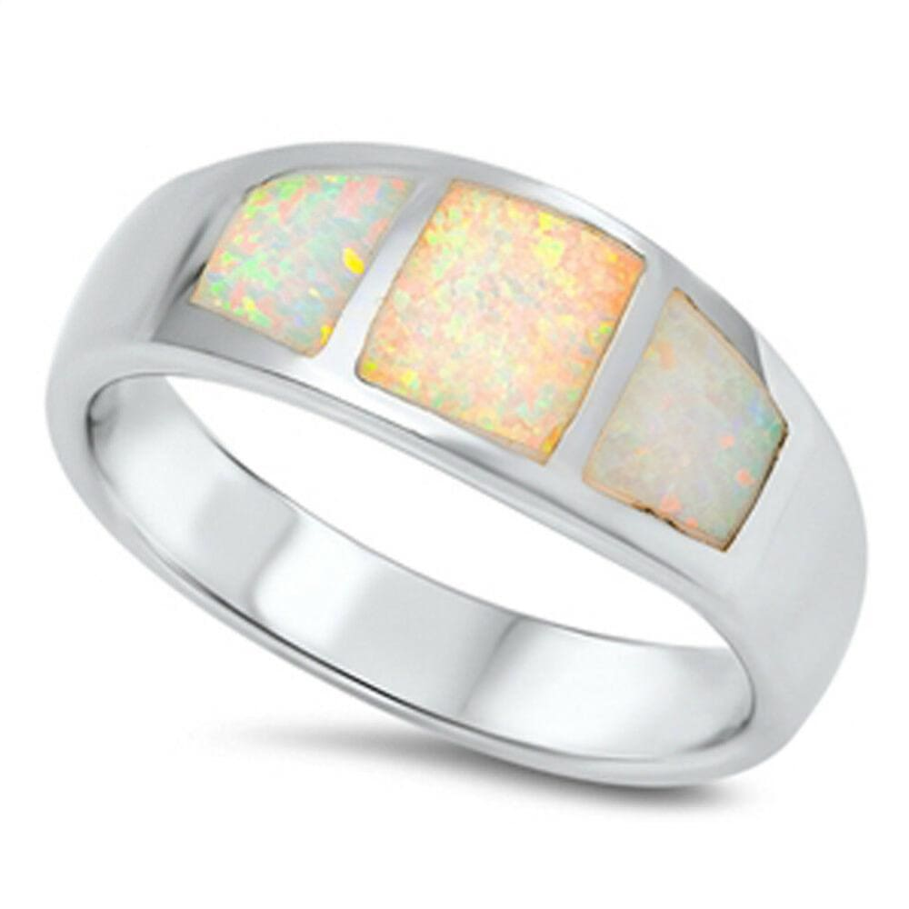 Rings $46.99 Wide Band White Opal Inlay Thumb Ring Sterling Silver opal white wide