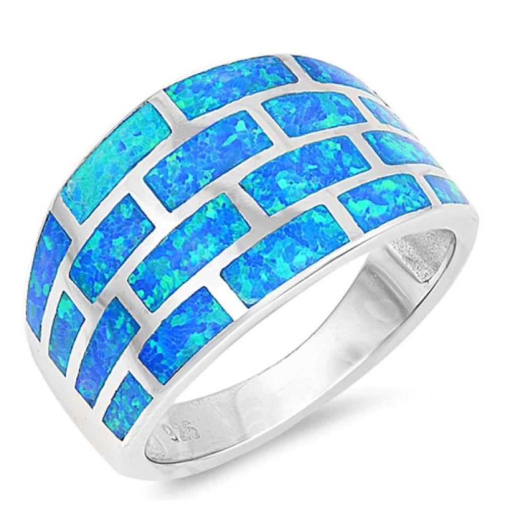 Rings $61.74 Wide Blue Geometric Brick Band Ring 50-100, badge-toprated, blue, opal, rings