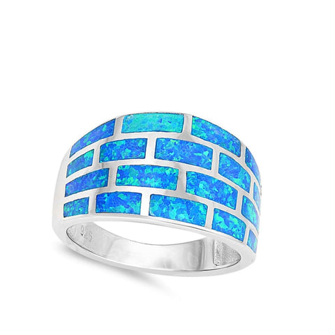 Image of Rings $47.49 Wide Blue Geometric Brick Band Ring blue opal wide