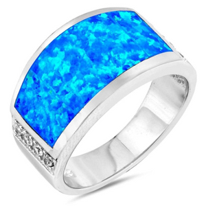 Rings $88.50 Wide Rectangle Blue Simulated Opal Ring 50-100, badge-toprated, blue, opal, rectangle