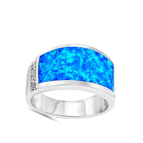 Image of Rings $58.15 Wide Rectangle Blue Simulated Opal Ring 50-100 blue opal rectangle rings