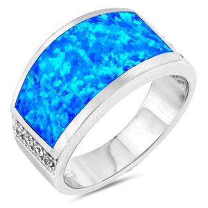 Wide Rectangle Blue Simulated Opal Ring