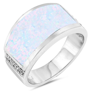 Rings $75.05 Wide Rectangle White Simulated Opal Ring 50-100, badge-toprated, opal, rectangle, rings