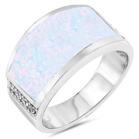 Image of Rings $75.05 Wide Rectangle White Simulated Opal Ring 50-100, badge-toprated, opal, rectangle, rings