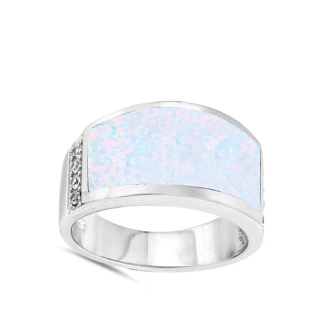 Rings $57.73 Wide Rectangle White Simulated Opal Ring 50-100 opal rectangle rings size-10