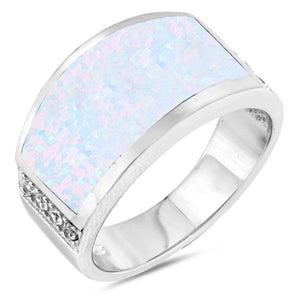 Wide Rectangle White Simulated Opal Ring