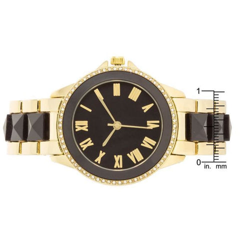 Watches $33.00 Black And Gold Metal Crystal Watch