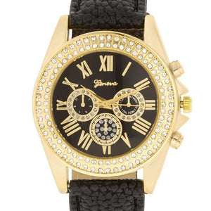Black Leather Watch Goldtone With Crystals