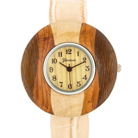 Watches $29.00 Brenna Beige Wood Inspired Leather Cuff Watch