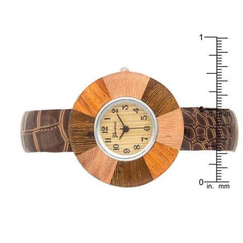 Image of Watches $29.00 Brenna Dark Brown Wood Inspired Leather Cuff Watch