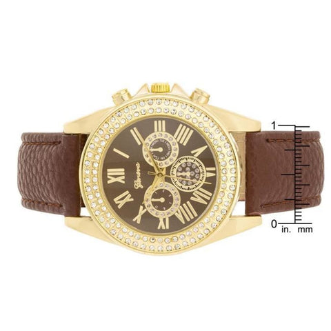 Image of Watches $30.00 Brown Leather Watch With Crystals