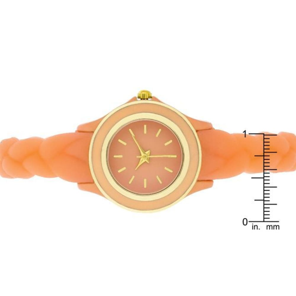 Watches $25.00 Carmen Braided Ladylike Watch With Coral Rubber Strap