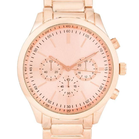 Watches $31.00 Chrono Rose Gold Metal Watch