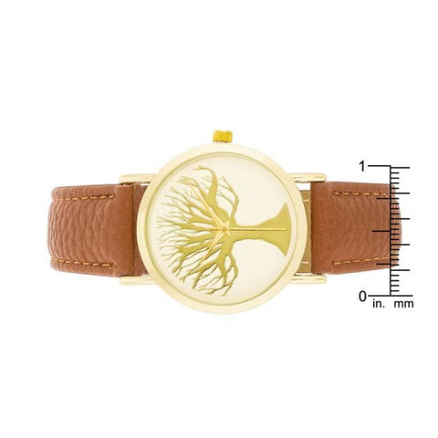 Watches $25.00 Fashion Tree Dial Watch With Leather Band