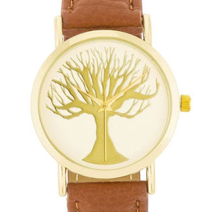 Fashion Tree of Life Dial Watch With Leather Band