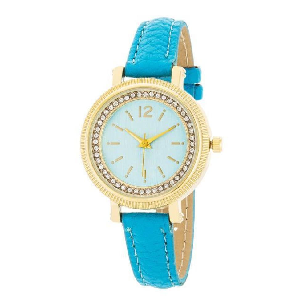 Watches $28.00 Georgia Gold Crystal Watch With Turquoise Leather Strap