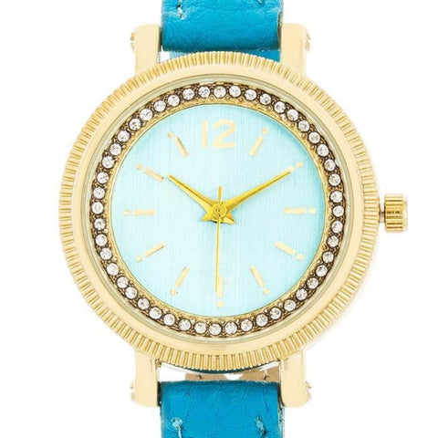 Image of Watches $28.00 Georgia Gold Crystal Watch With Turquoise Leather Strap