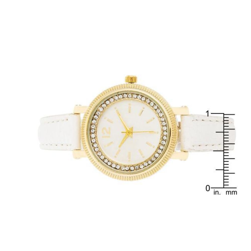 Watches $28.00 Georgia Gold Crystal Watch With White Leather Strap