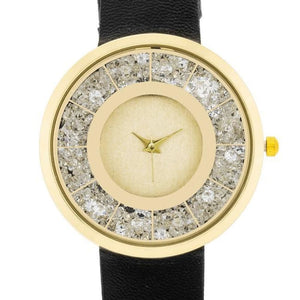 Gold Black Leather Watch With Crystals
