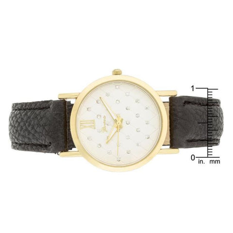 Watches $27.00 Gold Black Leather Watch