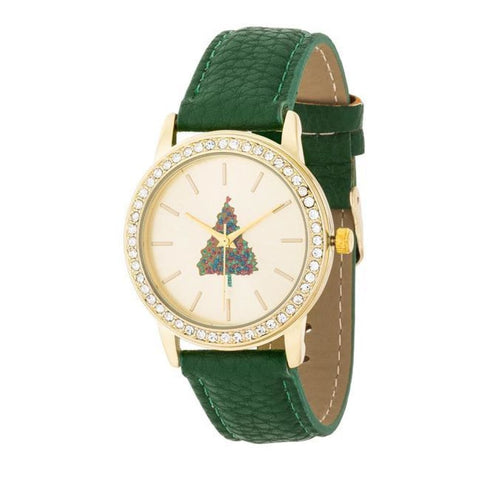 Image of Watches $26.00 Gold Christmas Crystal Tree Watch With Green Leather Strap