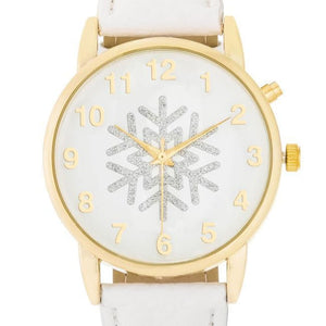 Gold Holiday Snowflake Watch With White Leather Strap