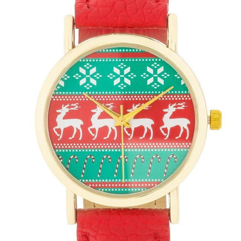 Image of Watches $25.00 Gold Holiday Watch With Red Leather Strap