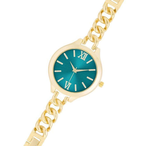 Watches $33.00 Gold Link Watch With Turqoise Dial