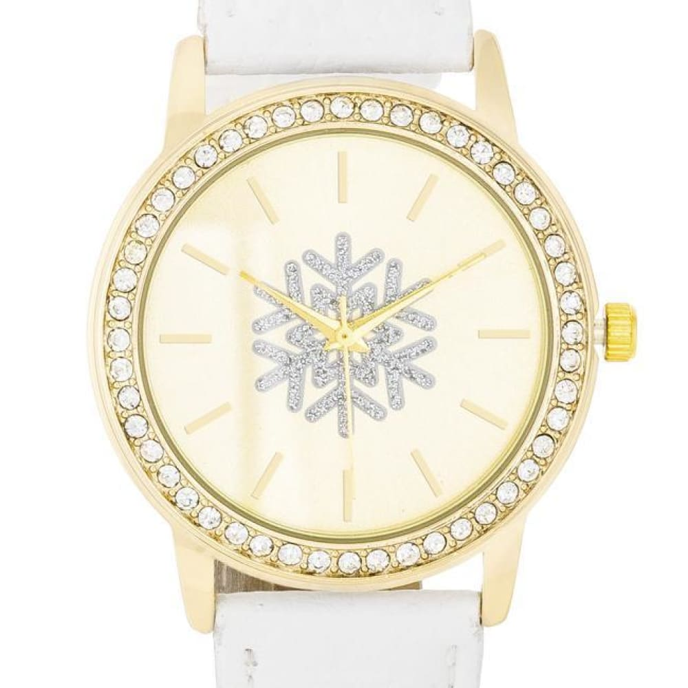 Watches $26.00 Gold Snowflake Crystal Watch With White Leather Strap