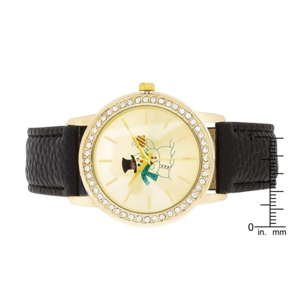 Watches $26.00 Gold Snowman Crystal Watch With Black Leather Strap