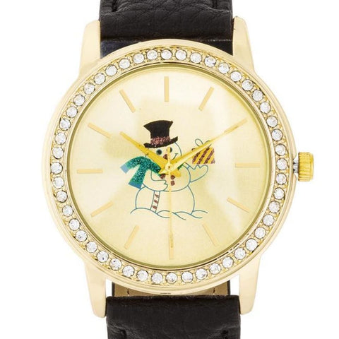 Image of Watches $26.00 Gold Snowman Crystal Watch With Black Leather Strap