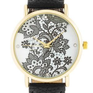 Gold Watch With Floral Print Dial Black Band