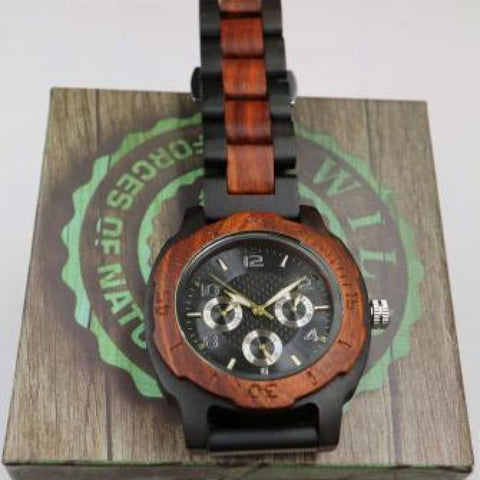 Watches $75 Men's Multi-Function Custom Rose Ebony Wooden Watch - Wood Band Watch 50-100, men's fashion, men's watches, watches