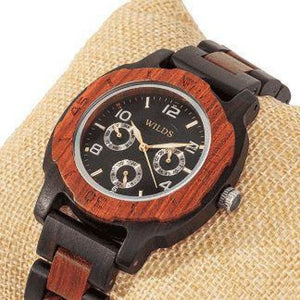 Men's Multi-Function Custom Rose Ebony Wooden Watch - Wood Band Watch