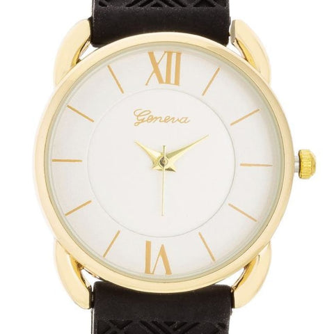Watches $24.00 Mina Gold Classic Watch With Black Rubber Strap