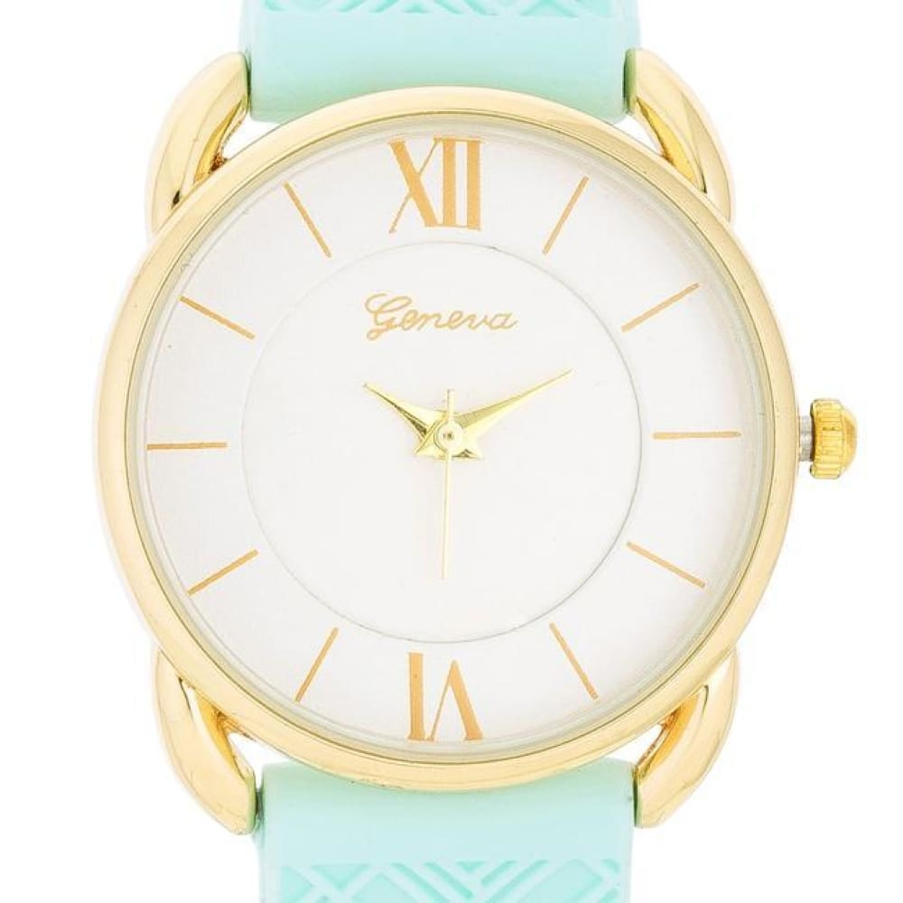 Watches $24.00 Mina Gold Classic Watch With Mint Rubber Strap