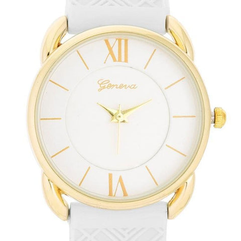 Watches $24.00 Mina Gold Classic Watch With White Rubber Strap