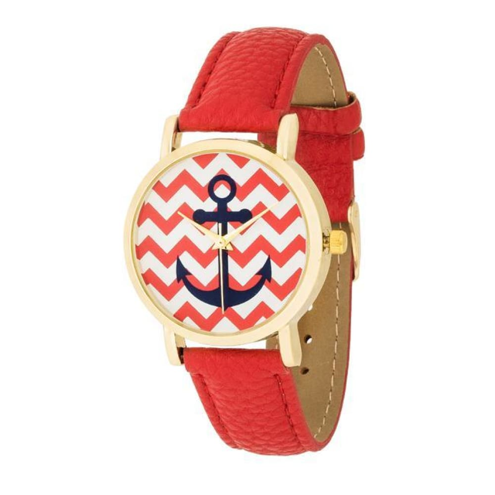 Watches $27.00 Nautical Red Leather Watch