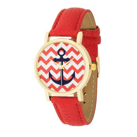 Image of Watches $27.00 Nautical Red Leather Watch