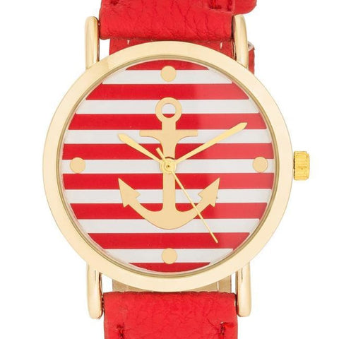 Image of Watches $25.00 Nautical Red Leather Watch