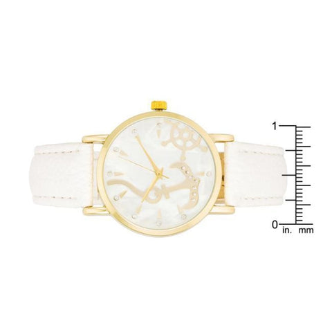 Image of Watches $26.00 Nautical White Leather Watch